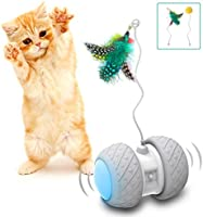 Comgoo Interactive Cat Toys, Automatic Irregular Feathers Birds Mouse Toys for Indoor Cats, LED Light Ball Toys for...