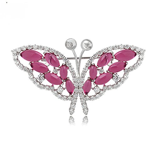 KnSam Brooch Jewelry White Gold Plated Women Brooch Pin Butterfly Bouquet Green AAA Cubic Zirconia, Marquise Shape 66x37MM