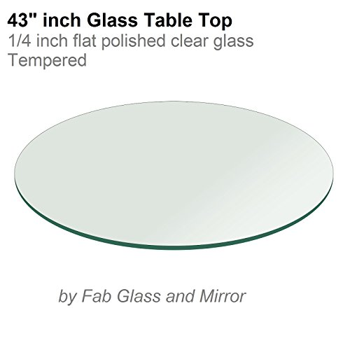 43'' Inch Round Glass Table Top 1/4'' Thick Flat Polish Edge Tempered by Fab Glass and Mirror by Fab Glass and Mirror
