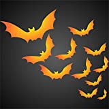 Halloween Bats Stencil (size 10.5''w x 9.5''h) Reusable Stencils for Painting & Holiday Project Ideas - Use on Walls, Floors, Fabrics, Glass, Wood, Cards, and More... (M)