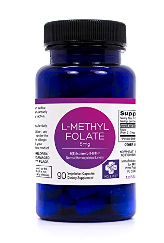Save $$ MD.LIFE L-Methylfolate 5 mg, 90 Caps. Compare to L-5-MTHF 1000 | Provides 1,000 mcg of pure non-racemic L-methylfolate | 60 Vegetarian Capsules | Physcian Formulated | Seeking Health (90 Caps)