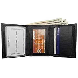 AG Wallets Leather Tri-fold Men's ID Wallet With Card Slots and Safe Closure (Black)