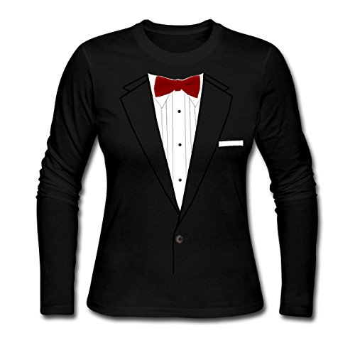 Spreadshirt Tuxedo Tux Bow Tie Costume Women's Long Sleeve Jersey T-Shirt, XL, Black