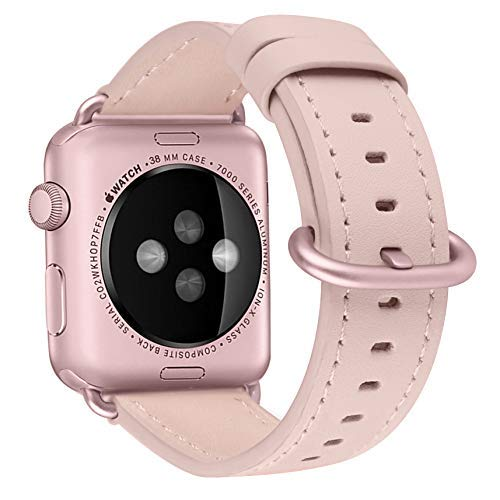 BRG Compatible with Apple Watch Band 38mm, Genuine Leather Watch Replacement Strap with Stainless Steel Buckle for Series 3 Series 2 Series 1 Sport and Edition, (Soft Pink Band+Rose Gold Buckle)