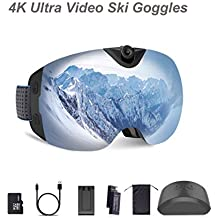 OhO 4K Ultra HD Action Camera Ski Goggles with 24MP and 140 Degree Adjusted Camera Angle Up and Down, Low Temperature Working Battery, Anti Fog and UV400 Protection Ski Lens with 32GB Memory