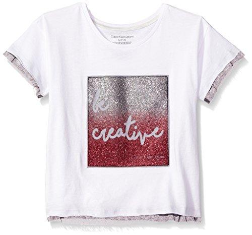 Calvin Klein Big Girls' Be Creative Tee, White, X-Large (16) by Calvin Klein