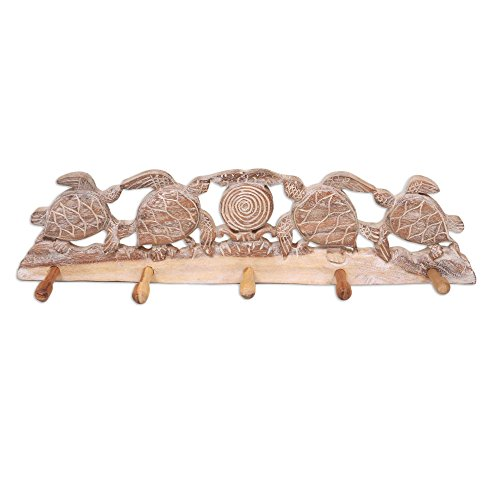 NOVICA Animal Themed Wood Wall Mounted Coat Hanger, Brown and White, Turtle Bay Beach' by NOVICA