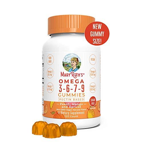 Organic Vegan Vitamin Omega 3-6-7-9 Gummies Supplement (Plant Based) by MaryRuth Chewable, Non-GMO, Gluten Free for Men, Women & Kids, NO Fish, NO Krill, Sugar Free (120 Count) ()