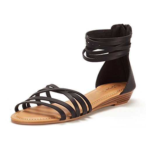 DREAM PAIRS Women's JUULY_01 Black Fashion Ankle Strap Flat Sandals Size 7.5 M US ()