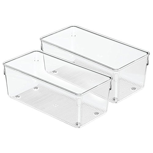 InterDesign Linus Kitchen Drawer Organizer for Utensils, Tools, Gadgets - Set of 2, 4'' x 8'' x 3'', Clear by InterDesign