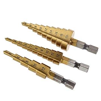 Drill Bits - 3pcs Hss Steel Titanium Step Drill Bits 3 12mm ...