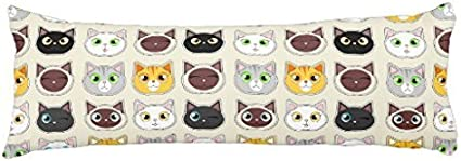 Veronicaca Lovely Cat Custom Cotton Body Pillow Covers For Cat Lovers Body Pillow Cases 20x54