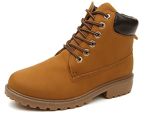 Waterproof Leather Heels (DADAWEN Women's Lace up Low Heel Work Combat Boots Waterproof Ankle Bootie Yellow US Size 6.5)
