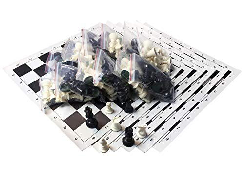 Tournament Chess Set - Filled Chess Pieces and Black Roll-Up Vinyl Chess Board ()