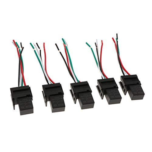 Mintice/™ 5 X 30A 12V 4Pin Car Vehicle Auto Relay Kit For Electric Fan Fuel Pump Heavy Duty SPST Socket Plug Wire