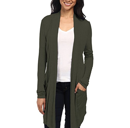 Womens Casual Open Front Drape Cardigan KSKW31127 52309 Olive M