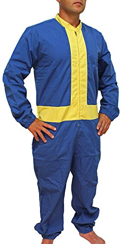 Fallout Guy Costume (Fallout 4 Men's Vault Boy 111 Jumpsuit Cosplay Costume (SM/MD))