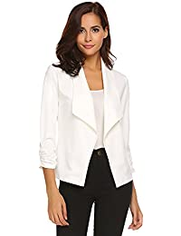 60b3b167ab Womens Solid 3 4 Ruched Sleeve Open Front Draped Lapel Work Office Blazer  Jacket