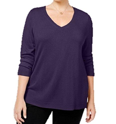 Karen Scott Womens Plus V-Neck Acrylic Sweater Purple (Scott V-neck Cardigan)