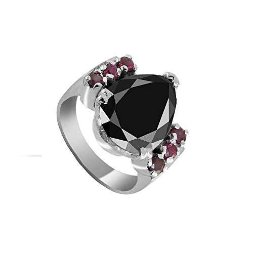 Certified 3.15 Pear Shape Black Diamond Silver Ring with Ruby Gemstone Accents by skyjewels