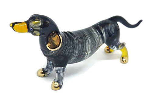 (NaCraftTH Glass Figure Dachshund Sausage Dog Murano Glassblowing Artwork Handicraft Crystal Animal Pet Figurine Home Decor Gifts)