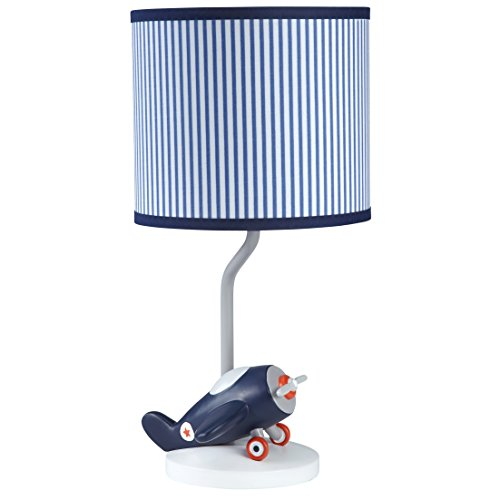 Carter's Take Flight Airplane Nursery Lamp Base and Shade, Blue, Navy, Grey, Orange Airplane Room Decor