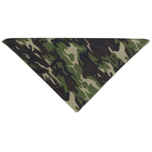 Aria 22-Inch Cotton Camouflage Dog Bandanas, Green