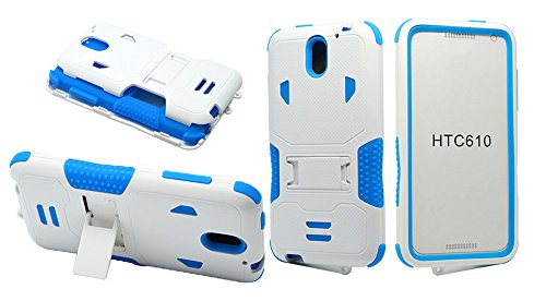 HTC Desire 610 Case, NEM Heavy Duty Armor Tough Rugged Hard Shockproof Hybrid Cover Dual Layer Kickstand Case Ultra Durable Protective Phone Case for HTC Desire 610-White Blue