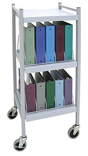 Mini Open Chart Rack 3 Shelves 10 Binder Capacity (Light Gray) by Omnimed