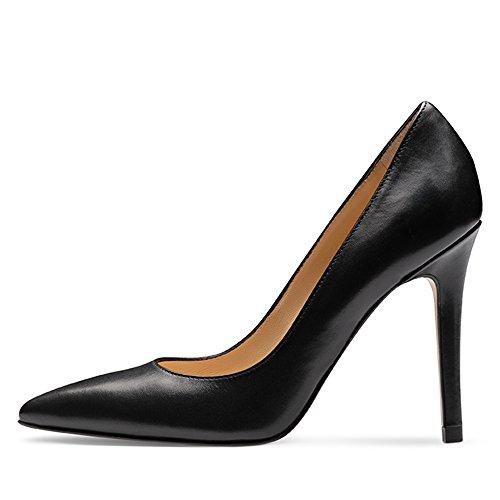 de negro con para Punta Mujer Zapatos Cerrada Pump Tacón Shoes Evita qvStHBt