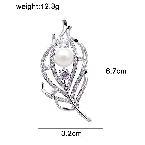 CINDY XIANG Zircon Feather Brooches Women CZ Elegant Coat Suit Accessories Copper Pin Luxury Corsage by CINDY XIANG (Image #1)