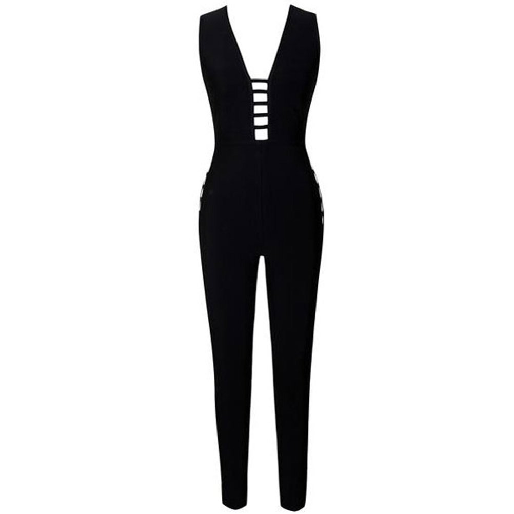 YFFaye Women's Black Bandage Jumpsuit with Ladder Cutouts by YFFaye