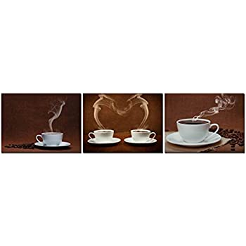 Heronear Art Hot Coffee Wall Art Oil Paintings Giclee Still Life Canvas Prints For Home Decorations 12x16in 3 Panels Set