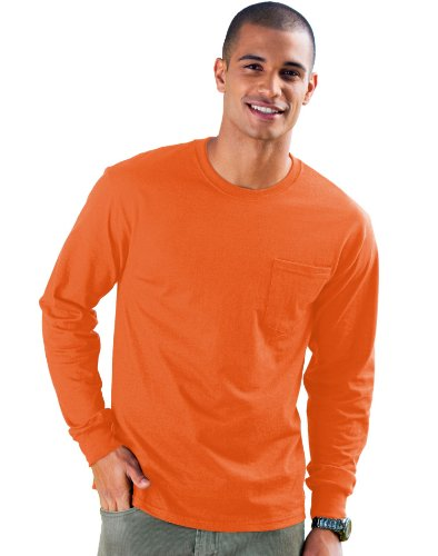 0876033b Hanes 6.1 oz. Tagless  ComfortSoft  Long-Sleeve Pocket T-Shirt - SAFETY  ORANGE - M - Buy Online in Oman. | Apparel Products in Oman - See Prices,  ...