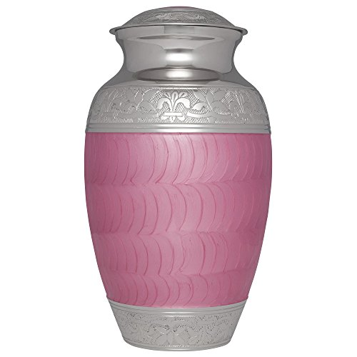 Pink Funeral Urn by Liliane Memorials - Cremation Urn for Human Ashes - Hand Made in Brass - Suitable for Cemetery Burial or Niche - Large Size fits remains of - Olas At Shops Las