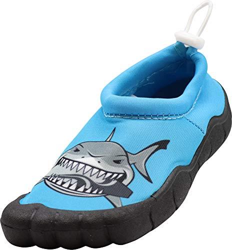 NORTY - Little Boys Skeletoe Mesh Waterproof Athletic Aqua Socks for Pool Beach with Shark Graphic, Blue 40949-13MUSLittleKid