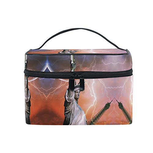 Thunder Statue Of Liberty Women Makeup Bag Travel Cosmetic Bags Toiletry Train Case Beauty Pouch Organizer