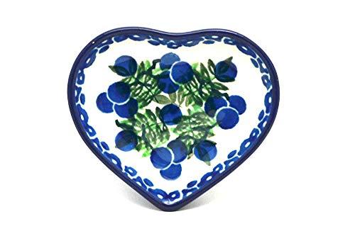 Polish Pottery Tea Bag Holder - Heart - Huckleberry