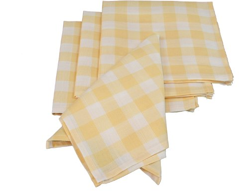 Xia Home Fashions Gingham Check Napkins, 20 by 20-Inch, Yellow, Set of 4
