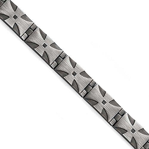 Acier inoxydable mat 10ct. antique 1/Tw-Diamant Noir-Bracelet 8,5 pouces-JewelryWeb