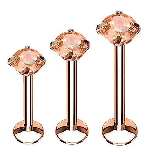 BodyJ4You 3PC Labret Stud Tragus Earring Set 16G Rose Goldtone Pink Crystal Helix Lip Cartilage ()