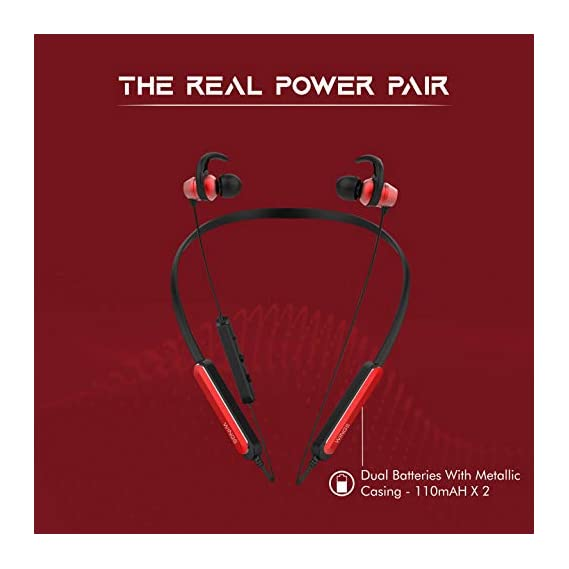 Wings Ryder Neckband Bluetooth 5.0 Wireless Earphones, Fast Charging Battery, Qualcomm Chipset, Upto 14 Hours Playtime, Metallic Earbuds (Red)