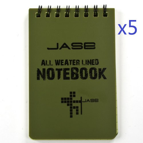 cosmos-set-of-5-green-waterproof-all-weather-shower-aqua-notes-notepad-notebook
