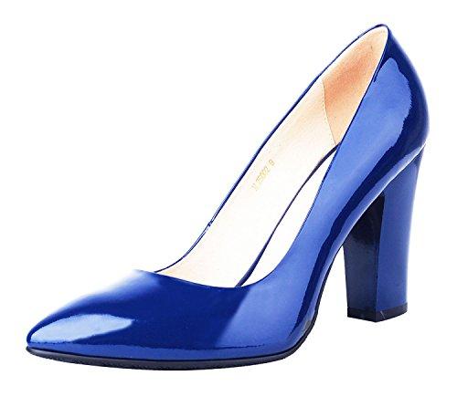 Donne Pompa Calzatura Classico Genuino Pelle Delle Grosso Abito Di Verocara Tacco Sexy Brevetto blu Alto Pontied Punta B zxnOTH