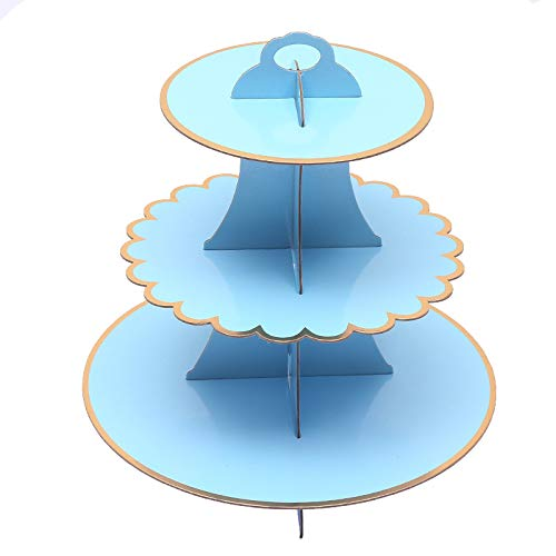 SASSY Cardboard Cupcake Stand Towers 3 tiered & 12 pcs Gold Cupcake Wrappers Bundle (Blue & Gold)