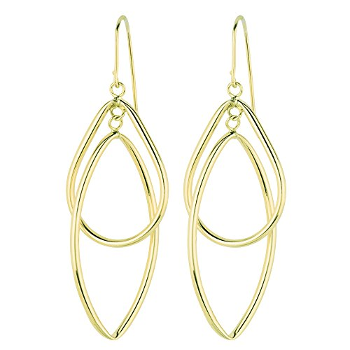 Shape Marquis (Aleksa Ladies 14K Yellow Gold Shiny Diamond Cut Tear Drop & Marquis Shape Freeform Drop Earrings)