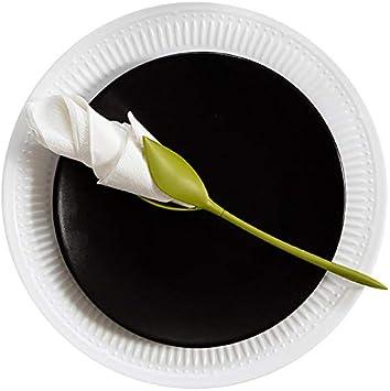 4PCS MHJF Servilletero de Flores la configuraci/ón Original de la Mesa Servilletero Verde de pl/ástico con Forma de Tallo retorcido.