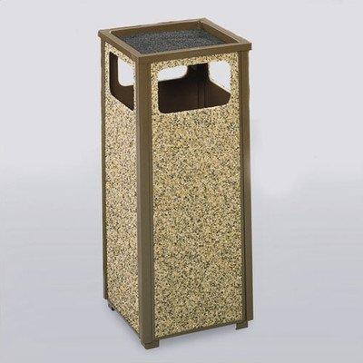 - 12-Gal Aspen Sand Top Ash/Trash Receptacle [Set of 2] Color/Finish: Brown/Desert Brown Stone Panels, Urn Type: Weather Urn