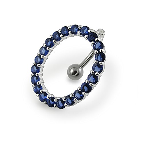 (Dark Blue Gemstone Fancy Movable Out Line Jeweled Oval 925 Sterling Silver with Stainless Steel Belly Button Rings)