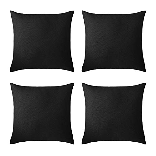 Deconovo Black Pillowcases Faux Linen Hand Made Pillow Case Cushion Cover with Invisible Zipper for Couch 18 x 18 Inch Set of 4 No Pillow Insert (Black Linen Pillow Cover)